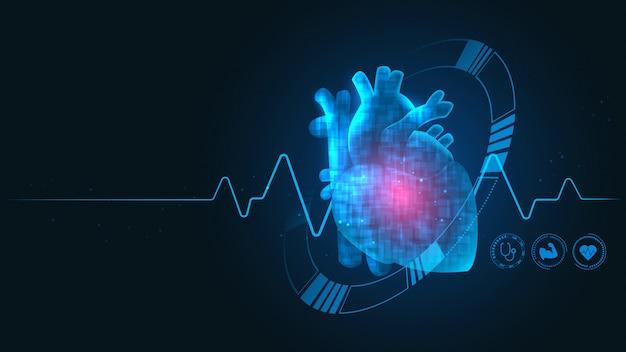 Tecnologia cardiologica Vettore Premium