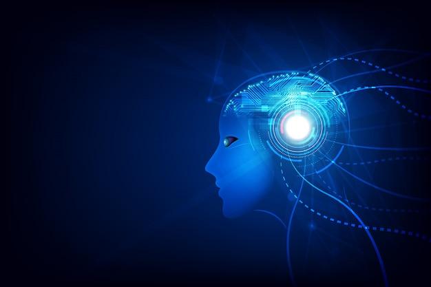 Tecnologia cervello di intelligenza artificiale Vettore Premium
