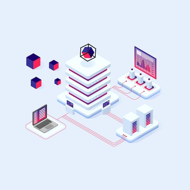 Tecnologia criptovaluta e blockchain composizione isometrica, analisti e manager che lavorano su crypto start up. Vettore Premium