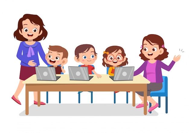 Tecnologia dell'insegnante studente Vettore Premium