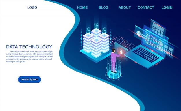 Tecnologia di archiviazione cloud della sala server di datacenter ed elaborazione di big data protezione della sicurezza dei dati. informazione digitale. isometrico. vettore di cartone animato Vettore Premium