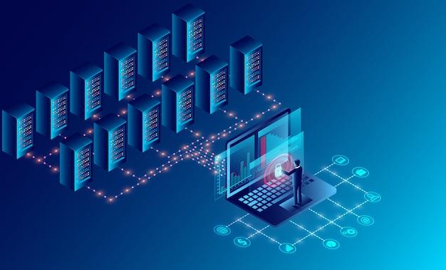 Tecnologia di archiviazione cloud nella sala server per data center e grande elaborazione dei dati protezione del concetto di sicurezza dei dati. isometrico Vettore Premium