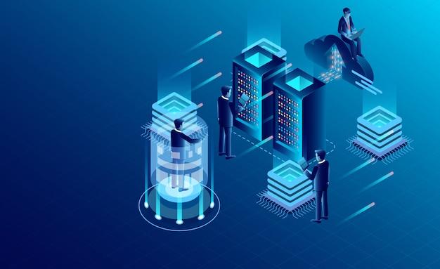 Tecnologia di archiviazione cloud per sala server datacenter e elaborazione di grandi quantità di dati Vettore Premium
