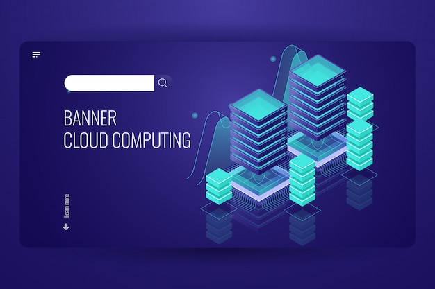 Tecnologia di cloud computing, archiviazione remota dei dati, concetto di data center per sala server, database cloud Vettore gratuito