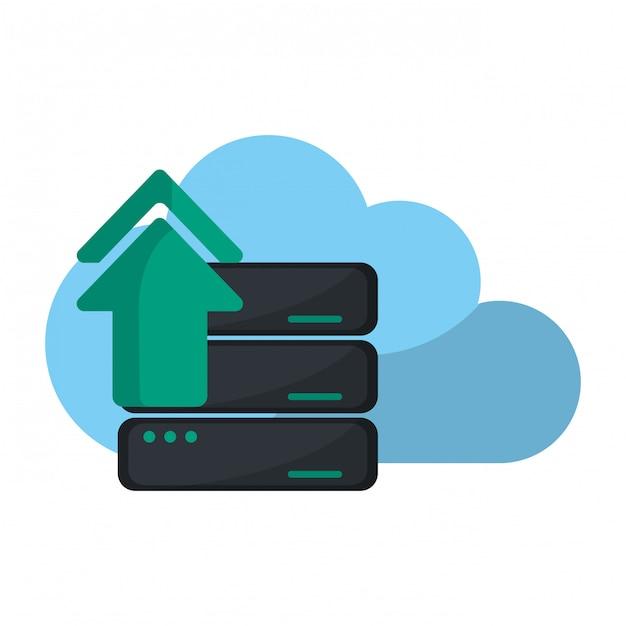 Tecnologia di cloud computing Vettore Premium