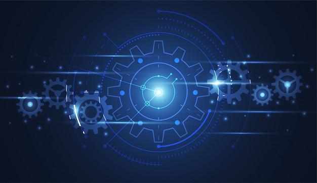 Tecnologia di collegamento dell'ingranaggio astratto del fondo di scienza Vettore Premium