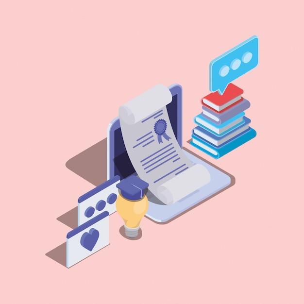 Tecnologia di formazione online con laptop Vettore Premium