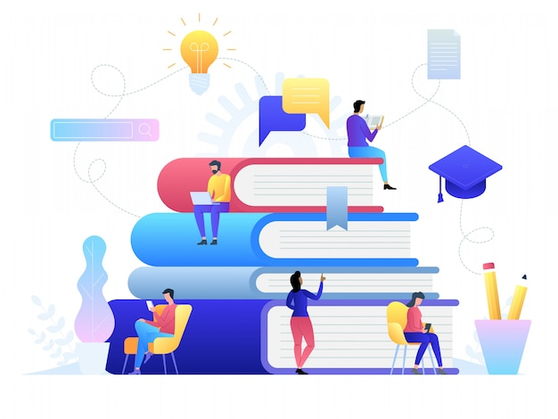 Tecnologia di formazione online. e-book, corsi su internet e processo di laurea. illustrazione in stile piatto. Vettore Premium