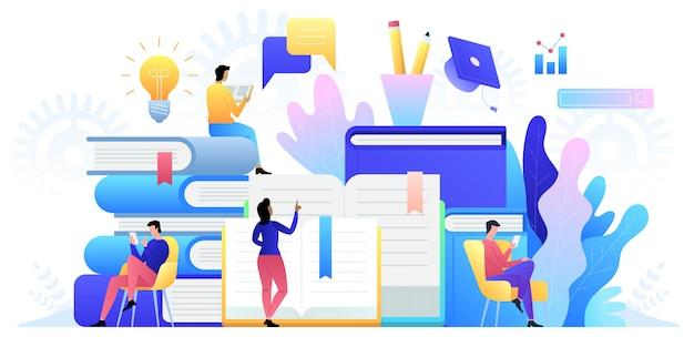 Tecnologia di formazione online. e-book, corsi su internet e processo di laurea. Vettore Premium