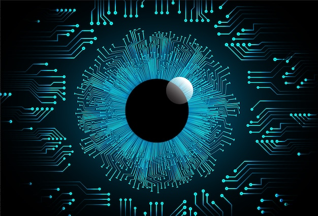 Tecnologia di futuro cyber dell'estratto della sfera dell'occhio azzurro Vettore Premium