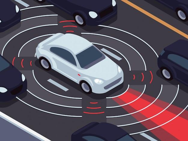 Tecnologia di guida autonoma del veicolo. assistente di auto e concetto di vettore del sistema di monitoraggio del traffico Vettore Premium