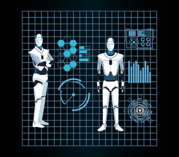 Tecnologia di intelligenza artificiale le macchine cyborg funzionano in modo futuristico Vettore Premium
