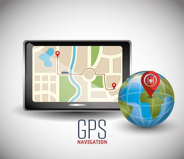 Tecnologia di navigazione gps Vettore Premium