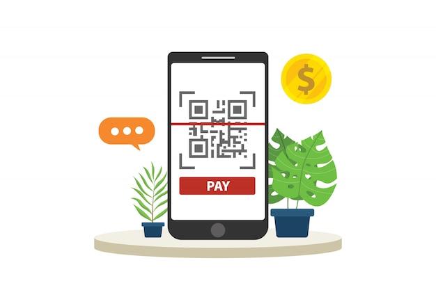 Tecnologia di pagamento mobile qr-code Vettore Premium