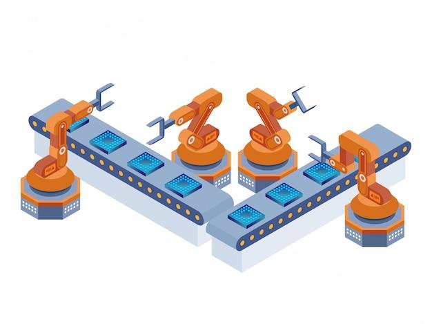 Tecnologia di produzione di armi robotiche industriali, isometrica Vettore Premium
