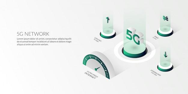 Tecnologia di rete isometrica 5g internet ad altissima velocità Vettore Premium
