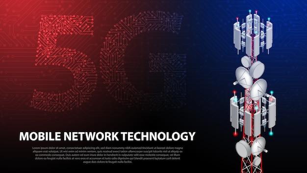 Tecnologia di rete mobile 5g torre di comunicazione sullo sfondo Vettore Premium