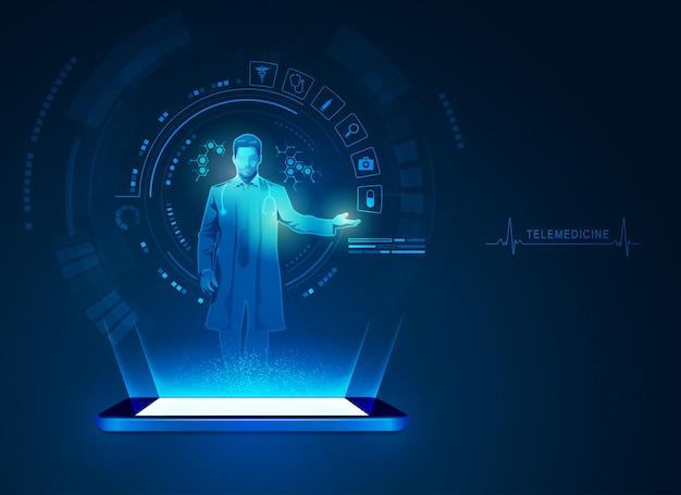 Tecnologia di telemedicina Vettore Premium