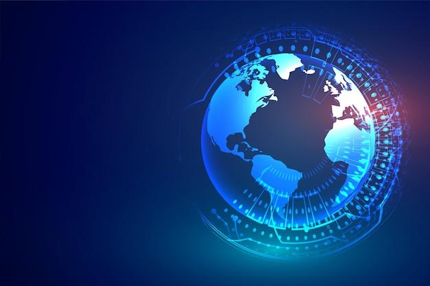Tecnologia digitale con terra e schema elettrico Vettore gratuito