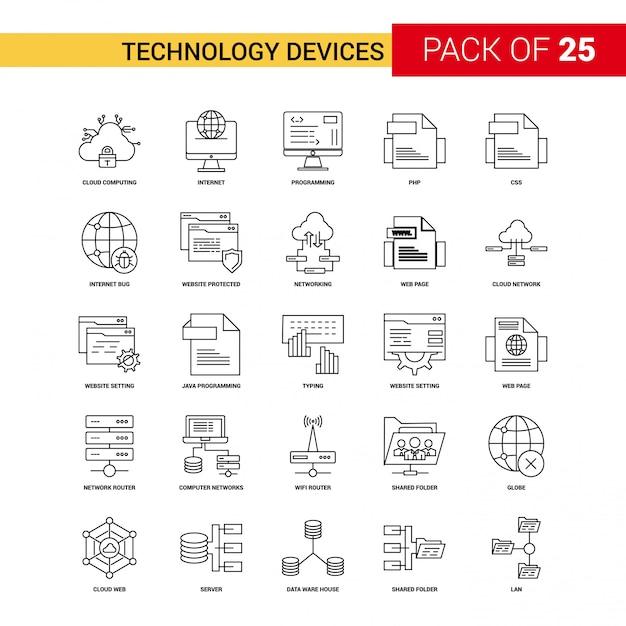 Tecnologia dispositivo icona linea nera Vettore gratuito
