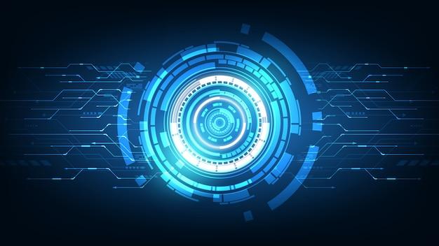 Tecnologia futura astratta, sfondo di telecomunicazioni elettriche Vettore Premium
