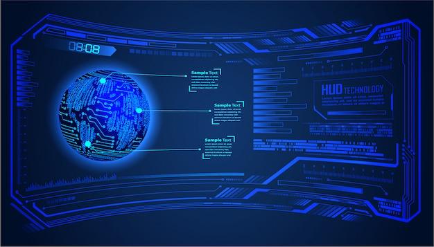 Tecnologia futura del circuito binario, fondo blu di concetto di sicurezza informatica di hud del mondo blu, Vettore Premium