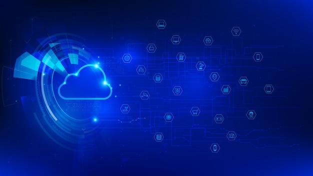 Tecnologia futuristica cloud e iot su sfondo blu scuro Vettore Premium