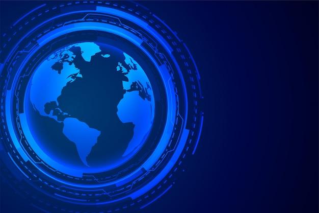 Tecnologia futuristica design digitale blu terra Vettore gratuito