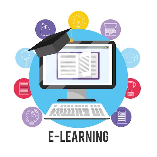 Tecnologia informatizzata per l'e-learning e cappuccio di laurea Vettore Premium