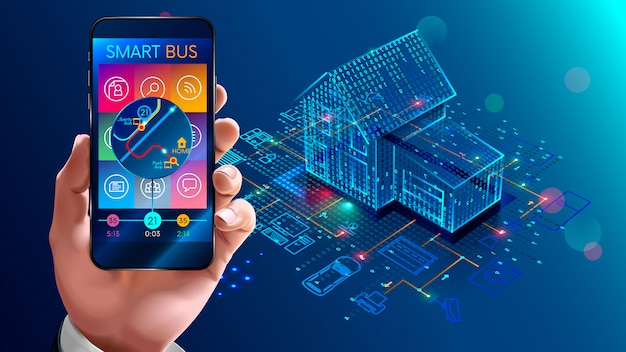 Tecnologia iot nell'automazione domestica, casa intelligente Vettore Premium