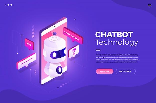 Tecnologia isometrica chatbot Vettore Premium