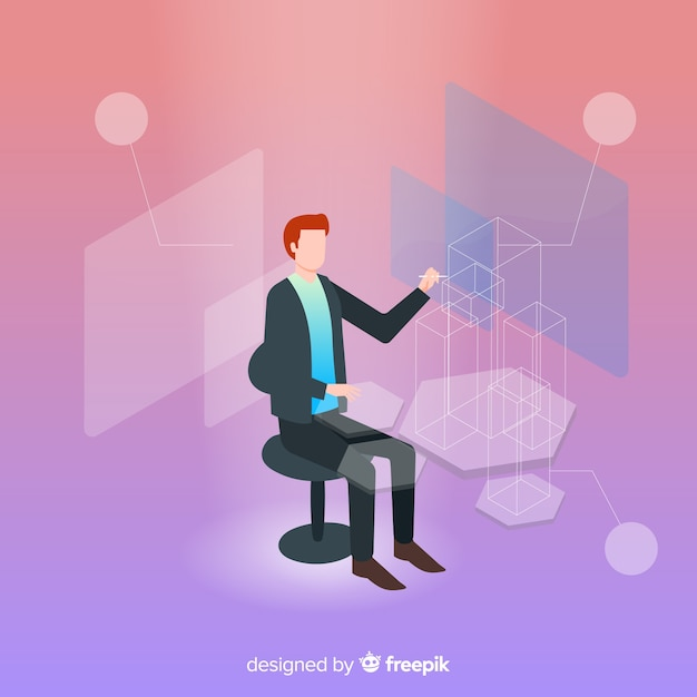 Tecnologia isometrica di affari con l'uomo seduto sulla sedia Vettore gratuito