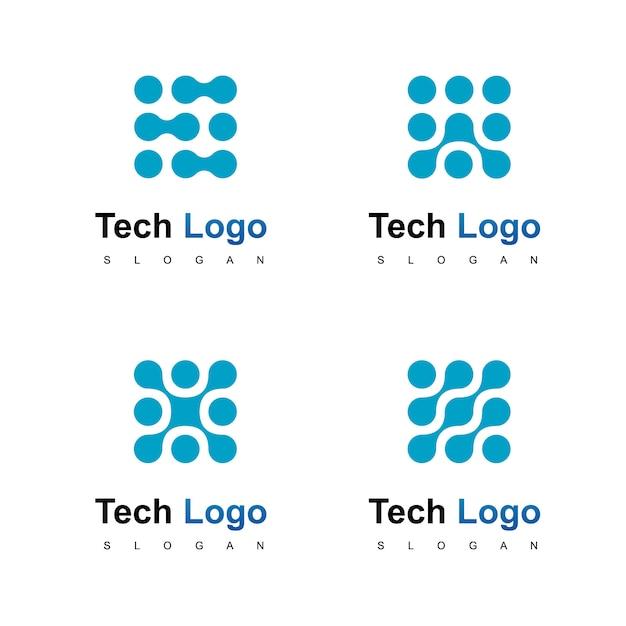 Tecnologia logo design vettoriale Vettore Premium