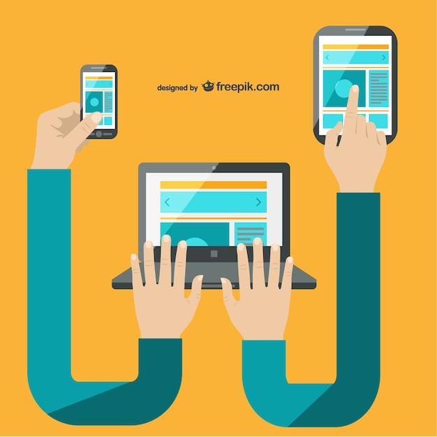 Tecnologia multimediale multi-tasking vettore Vettore gratuito