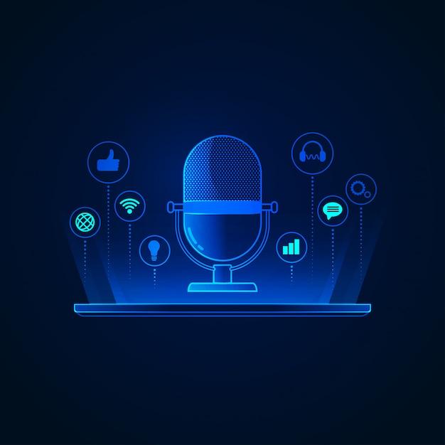 Tecnologia podcast Vettore Premium