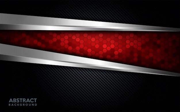 Tecnologia rossa astratta moderna con la linea d'argento e il fondo scuro del carbonio. Vettore Premium