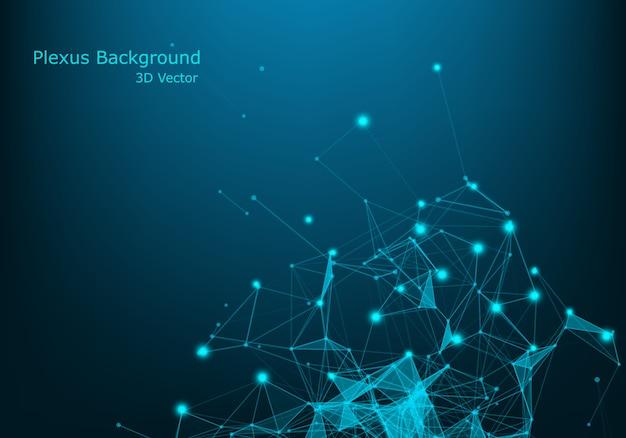 Tecnologia sfondo astratto. background scientifico. big data. sfondo . effetto plesso. struttura della connessione di rete. Vettore Premium