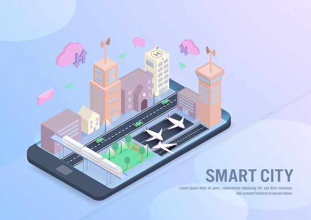 Tecnologia smart city nel vettore isometrico Vettore Premium
