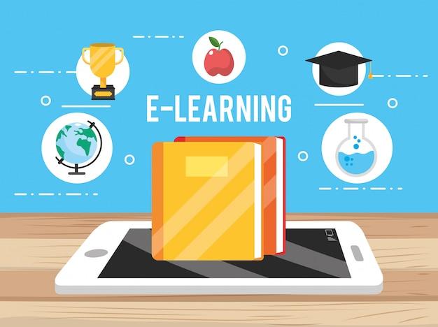 Tecnologia smartphone con libro di educazione e apple Vettore Premium