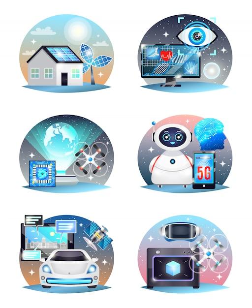 Tecnologie delle composizioni future impostate Vettore gratuito
