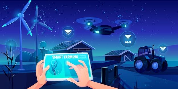 Tecnologie futuristiche in fattoria Vettore gratuito