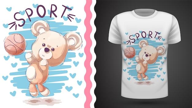 Teddy bear gioca a basket, idea per la t-shirt stampata Vettore Premium