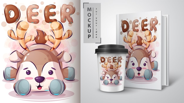 Teddy caro poster e merchandising Vettore Premium