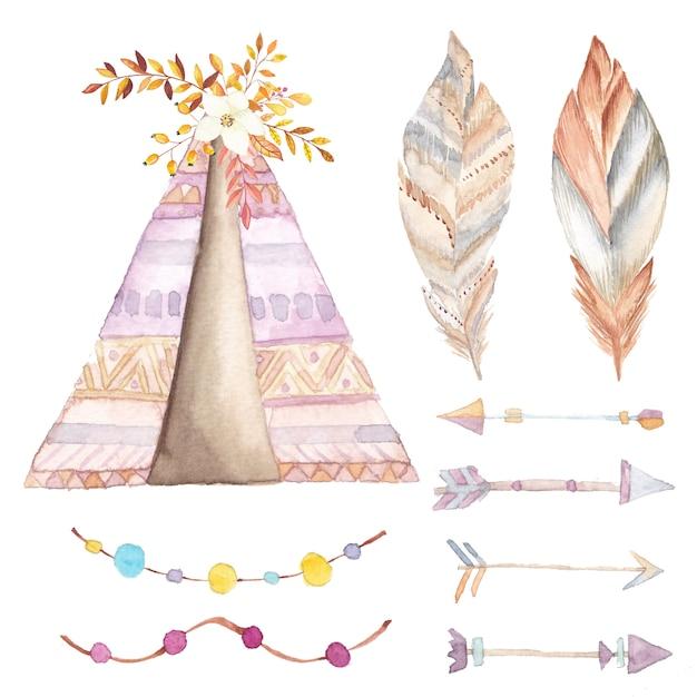 Teepee acquerello, set di frecce e fiori etnici Vettore Premium