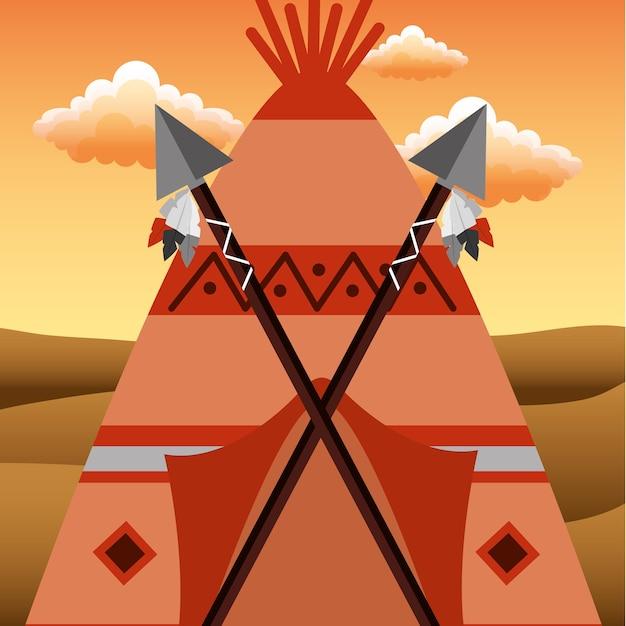 Teepee nativo americano con lance incrociate in porta Vettore Premium