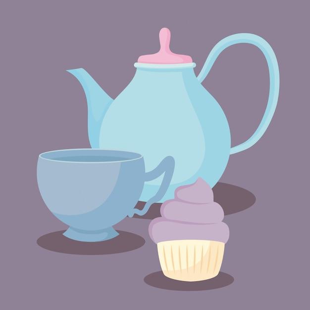 Teiera con dolce cupcake Vettore Premium