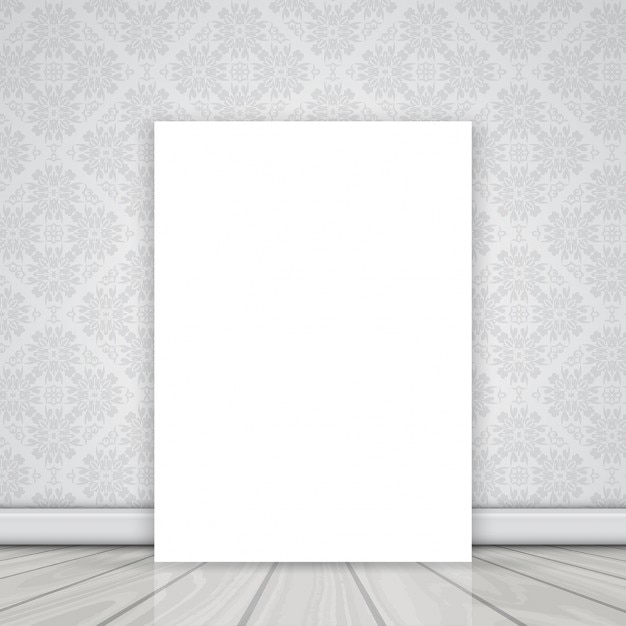 Tela bianca sul pavimento pendente contro un muro con for Carta da parati bianca