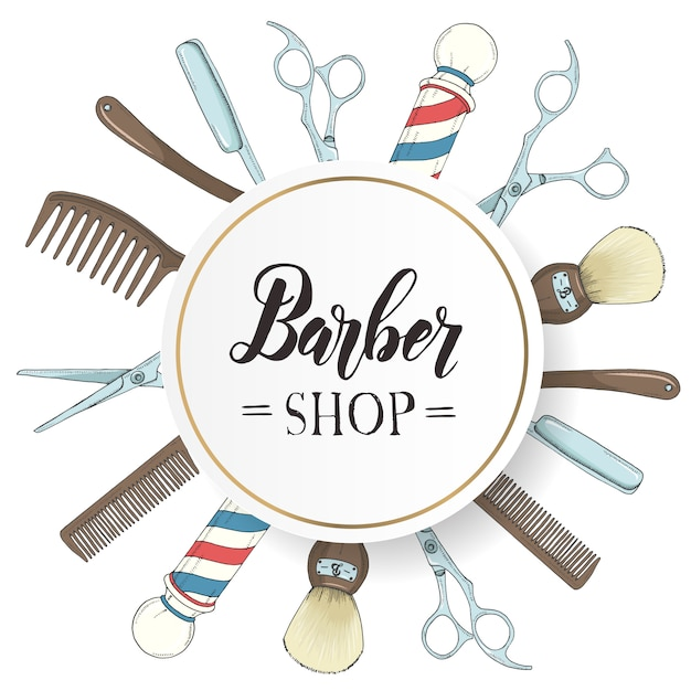 Telaio barbiere disegnato a mano con rasoio, forbici, pennello da barba, pettine, negozio di barbiere classico palo in stile schizzo. Vettore Premium
