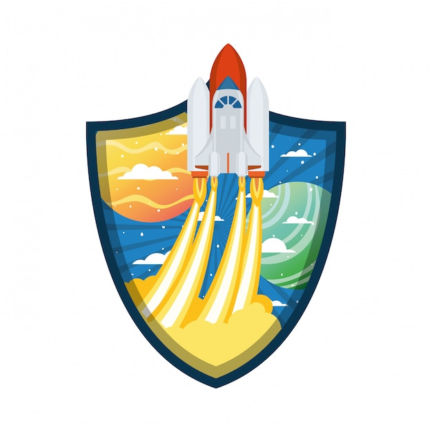 Telaio con razzi decollati e pianeti Vettore Premium