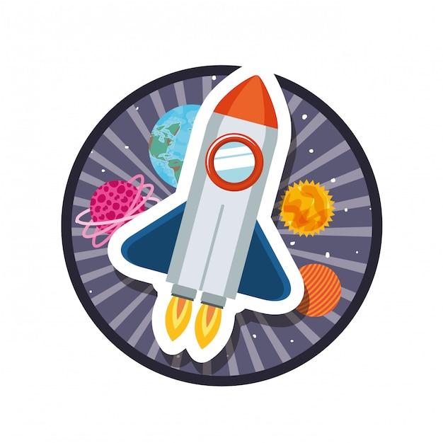 Telaio con razzo volante e pianeti del sistema solare Vettore Premium
